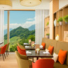 Verbena Restaurant with a view over the Alps