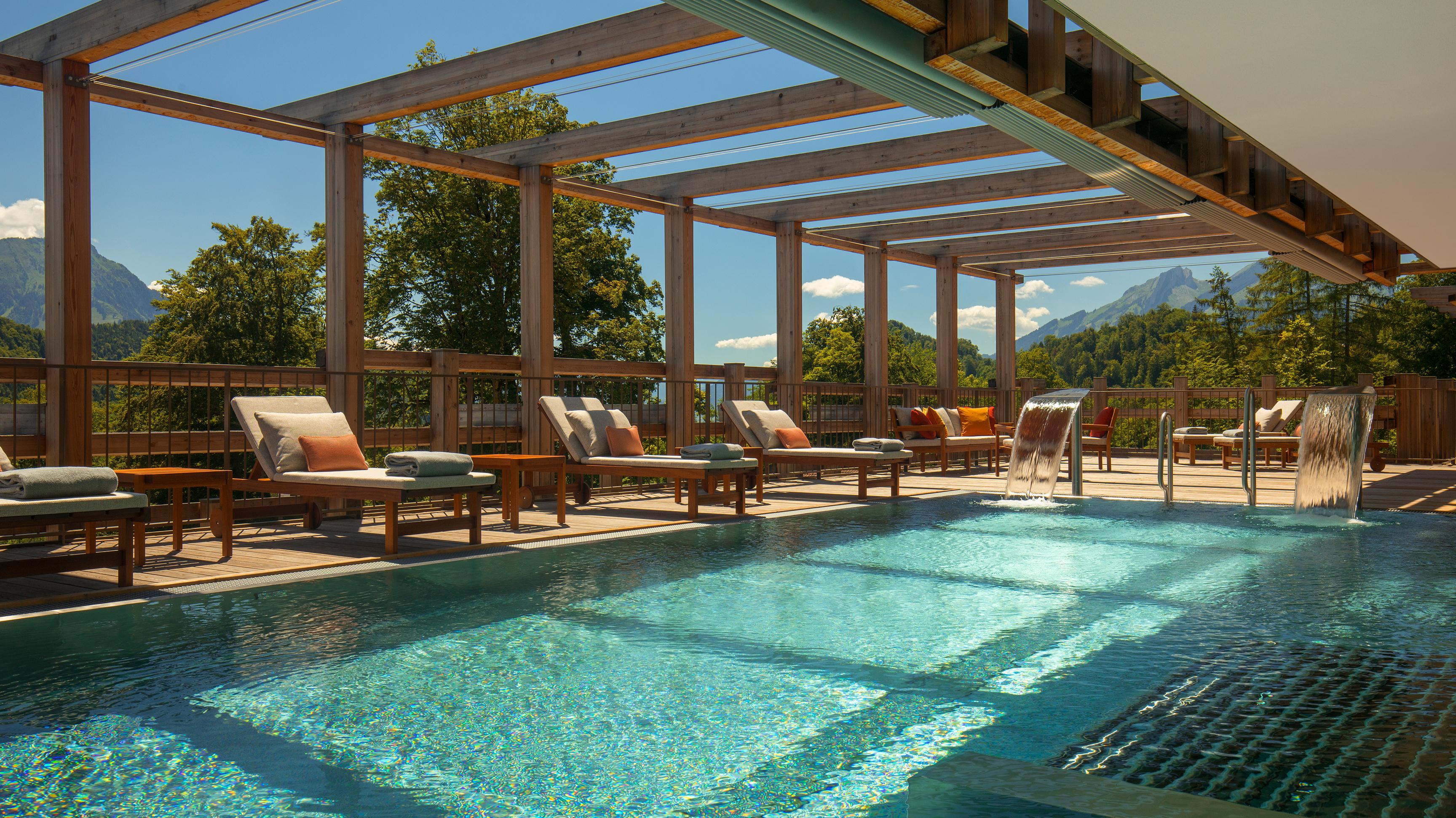 Relaxing in pool